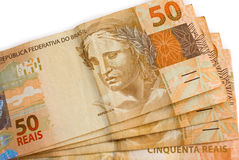 Primo piano su gamma di valuta del brasiliano 50 Fotografie Stock