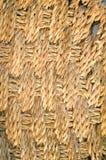 Primo piano su struttura di vimini del tessuto, macro a lamella del fondo della paglia Fotografia Stock Libera da Diritti