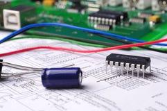 Primo piano su un microchip Immagine Stock