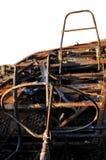 Primo piano sul particolare dell'automobile bruciata Immagini Stock Libere da Diritti