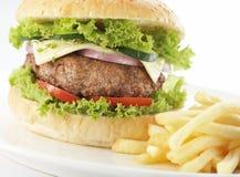 Primo piano sull'hamburger Fotografia Stock Libera da Diritti