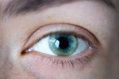Primo piano sull'occhio aperto di verde della giovane donna fotografie stock libere da diritti