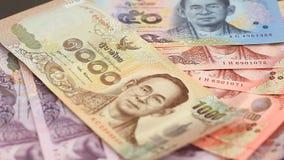 Primo piano tailandese dei soldi stock footage