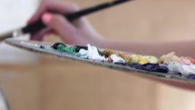 Primo piano, tavolozza con i colori dell'artista disponibile della pittura ad olio stock footage
