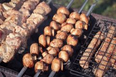 Primo piano tostato succoso dei funghi sulla griglia sugli spiedi vicino ai pezzi di carne succosi fritti sui carboni fotografia stock libera da diritti