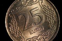 Primo piano turco dei soldi delle monete fotografia stock libera da diritti