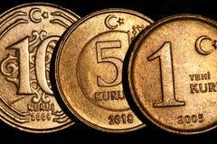 Primo piano turco dei soldi delle monete fotografia stock