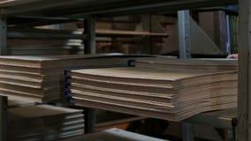 Primo piano Un bibliotecario prende un grande vecchio libro dallo scaffale nella biblioteca Archivio dei documenti e della letter stock footage