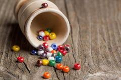 Primo piano variopinto delle perle di vetro Fotografia Stock