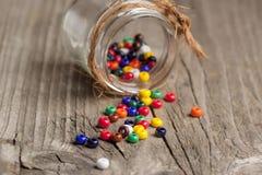 Primo piano variopinto delle perle di vetro Fotografia Stock Libera da Diritti