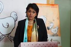 Primo presidente della donna delle Mauritius che parla al lancio della mostra cinese di San Mao del fumetto Fotografie Stock