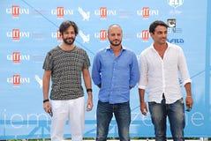 Primo Reggiani,Nicola Vaporidis e Matteo Branciamore al Giffoni Film Festival 2015 Royalty Free Stock Photos