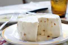 Primo sale cheese flavored with hot pepper. Primo sale cheese made with shhep milk and flavored with hot pepper and aromatic herbs Royalty Free Stock Images