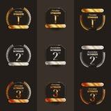 primo, secondo, terzo ` s di logo del posto con gli allori e nastri illustrazione di stock