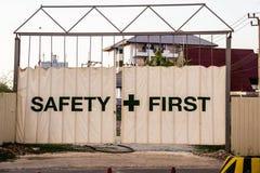Primo segno di sicurezza Fotografie Stock