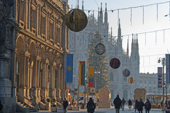 Primo sguardo impressionante a Milan Cathedral Duomo di Milano famoso Fotografia Stock Libera da Diritti