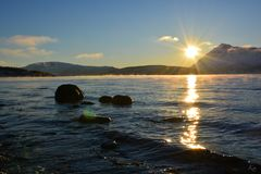 Primo Sun in Tromsø fotografie stock