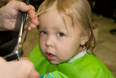 Primo taglio di capelli Immagine Stock Libera da Diritti