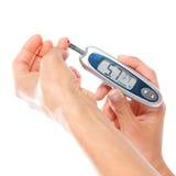 Primo tipo analisi del sangue livellata di misurazione paziente del glucosio del diabete u immagini stock