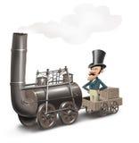 primo treno, prima locomotiva, motore Fotografie Stock Libere da Diritti