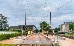 Primogenituras de l estación de la tranvía de Homme del ` en el distrito europeo de Estrasburgo, Francia Fotografía de archivo libre de regalías