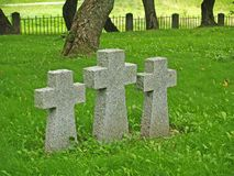 PRIMORSK, RUSSIA. Concrete crosses at the German military cemetery of World War II Stock Image