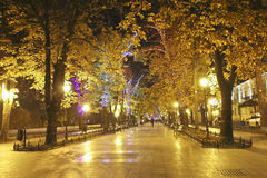 Primorsky Boulevard in Odessa at night. Stock Image