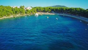 Primosten beaches aerial shot stock video footage