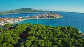 Primosten beaches aerial shot stock video