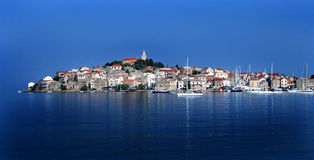Primosten Croatia Adriatic Sea. Old Town Primosten Croatia on the Adriatic Coast. Northward view of this picturesque resort town Stock Photography