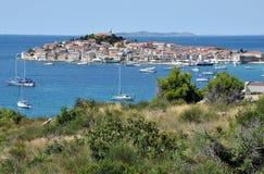 Primosten Mediterranean city on the Croatian coastline Royalty Free Stock Images