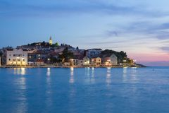 Primosten Old Town evening view, Croatia Stock Images