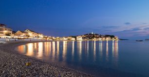 Primosten Old Town night view, Croatia Stock Image