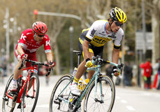 Primoz Roglic of LottoNL–Jumbo and Alexey Tsatevich of Katusha Royalty Free Stock Images
