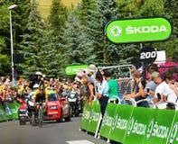 Primoz Roglic ,the Winner of Stage 17, Tour de France 2017. SERRE-CHEVALIER , FRANCE - JULY 19, 2017. Primoz Roglic the winner of the Stage 17 in Serre Chevalier Royalty Free Stock Photography