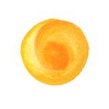 Primrose κίτρινη, πορτοκαλιά μορφή κύκλων με το διάστημα για το κείμενο Χρυσό στρογγυλό υπόβαθρο Watercolor Λεκέδες Watercolour Στοκ Φωτογραφία