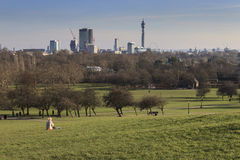 Primrose Hill, London. LONDON, UNITED KINGDOM - CIRCA FEBRUARY 2012 - People enjoying the sunny spring day in Primrose Hill, a park with stunning views to all Royalty Free Stock Images