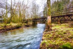 Primstalbahn的老铁路桥在Waldern附近的 图库摄影