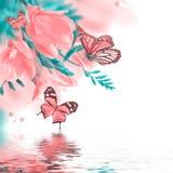 Primula och fjäril för vår gul Fotografering för Bildbyråer