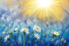 Primulor för vita blommor för vårmålningskog på härlig solig bakgrundsmakro Suddig f?rsiktig azur bakgrund Blom- nat arkivbilder