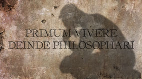 Primum vivere deinde philosophari. A Latin phrase that means First live, then do philosophy Stock Photo