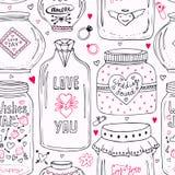 与乱画甜金属螺盖玻璃瓶的逗人喜爱的样式 背景无缝的华伦泰 传染媒介祝愿有字法的瓶子 爱天行家prin 免版税库存照片
