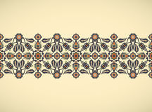 Prin floral élégant de décoration de frontière sans couture de vintage d'arabesque Images libres de droits