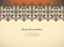 Prin floral élégant de décoration de frontière sans couture de vintage d'arabesque Image stock