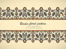 Prin floral élégant de décoration de frontière sans couture de vintage d'arabesque Photographie stock libre de droits