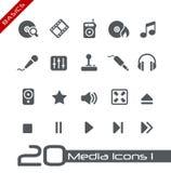 Princípios de // dos ícones dos media Imagens de Stock