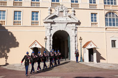 Prince's Palace of Monaco during the Changing of the Guard Royalty Free Stock Images