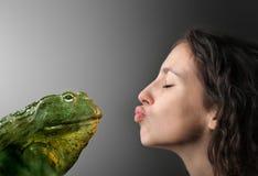 Prince. A girl kissing a taod Royalty Free Stock Photos