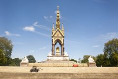 Prince Albert Memorial in London. The Prince Albert Memorial in Kensington Gardens, London was commissioned by Queen Victoria in memory of her husband, Prince Royalty Free Stock Image