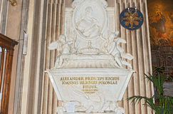 Prince  Alexander  Sobieski  sarcophagi in Rome, Italy. Royalty Free Stock Photo
